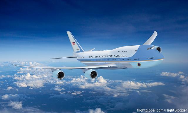 """Egy nem hivatalos Boeing 747-8 """"Air Force One"""" látványterv. (Forrás: Flightglobal.com)   © AIRportal.hu"""