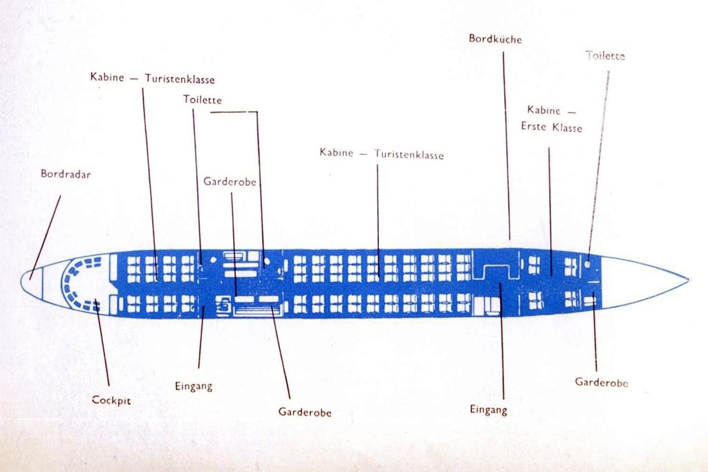 Az első osztállyal üzemelő Malév Il-18-as kabinkonfigurációs rajza. (Forrás: Malév katalógus) | © AIRportal.hu