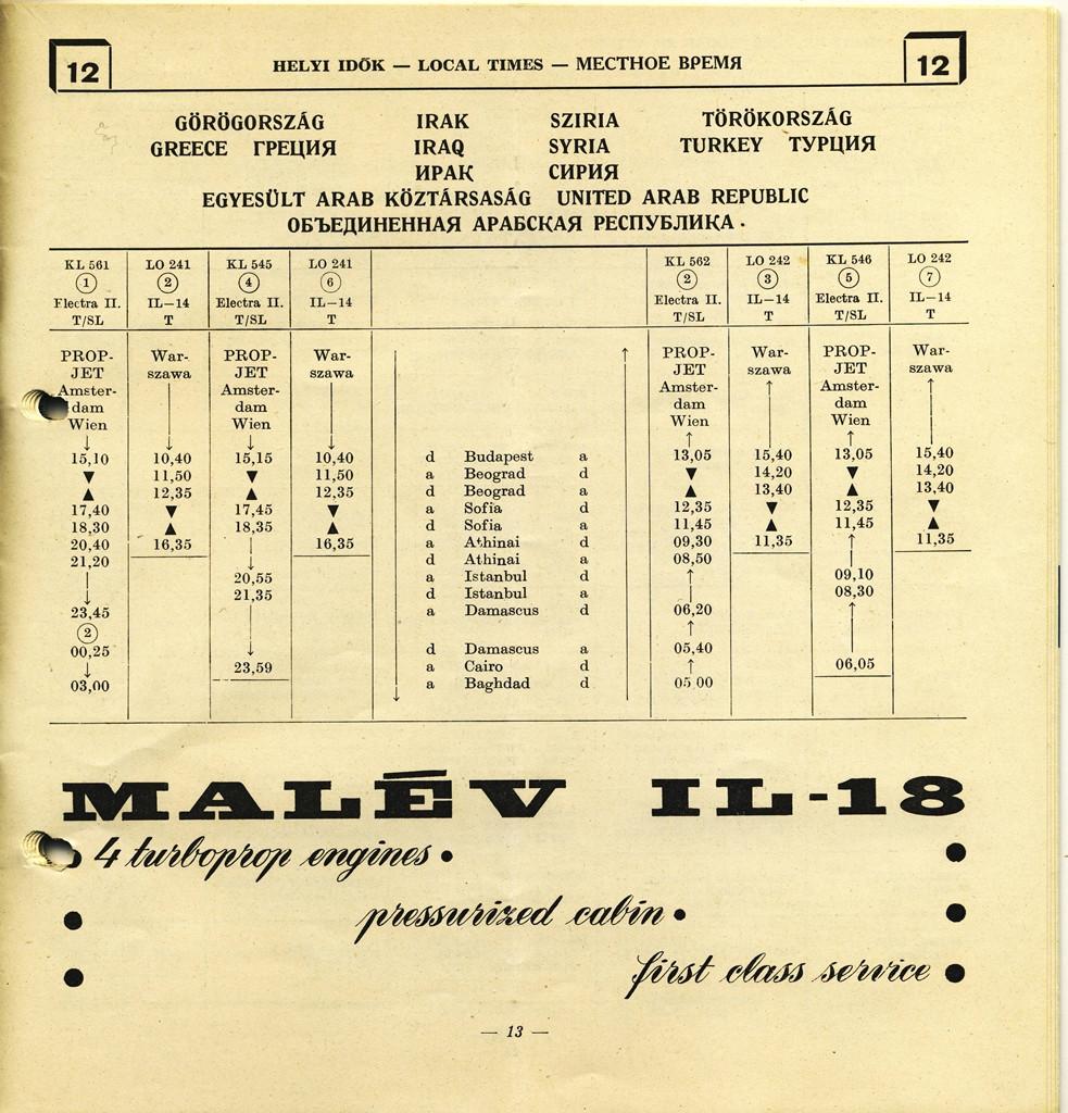 Malév téli menetrend-részlet, 1962-63. (Forrás: magángyűjtemény) | © AIRportal.hu