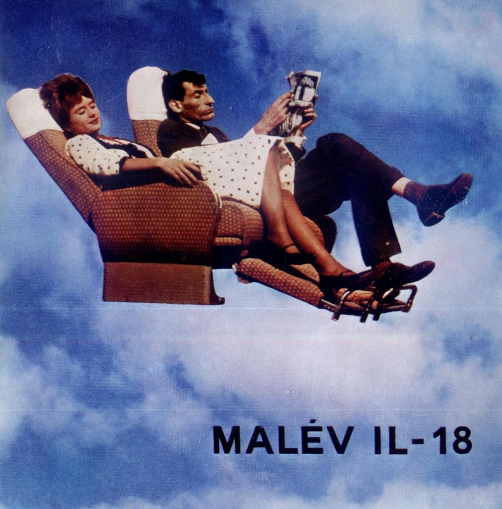A Malév 1965-ben kiadott Il-18 típusismerető katalógusa, címlapon az első osztály ülésével. (Forrás: magángyűjtemény) | © AIRportal.hu