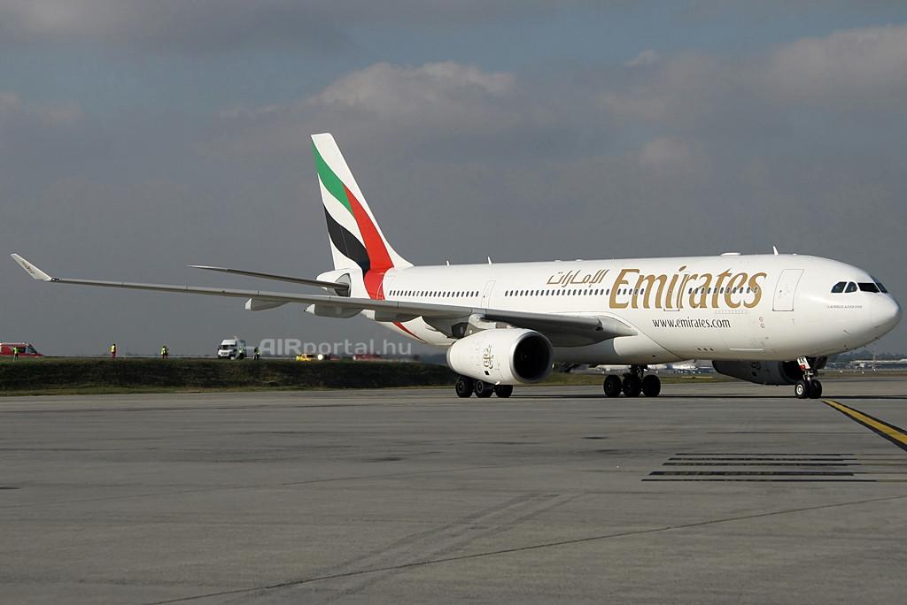 Emirates Airbus A330-200 a járatnyitás napján, 2014. október 27-én. (Fotó: Csemniczky Kristóf - AIRportal.hu) | © AIRportal.hu