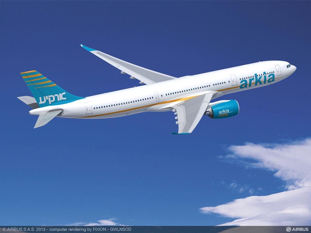 Arkia A330-900neo másik szögből. (Forrás: Airbus)   © AIRportal.hu