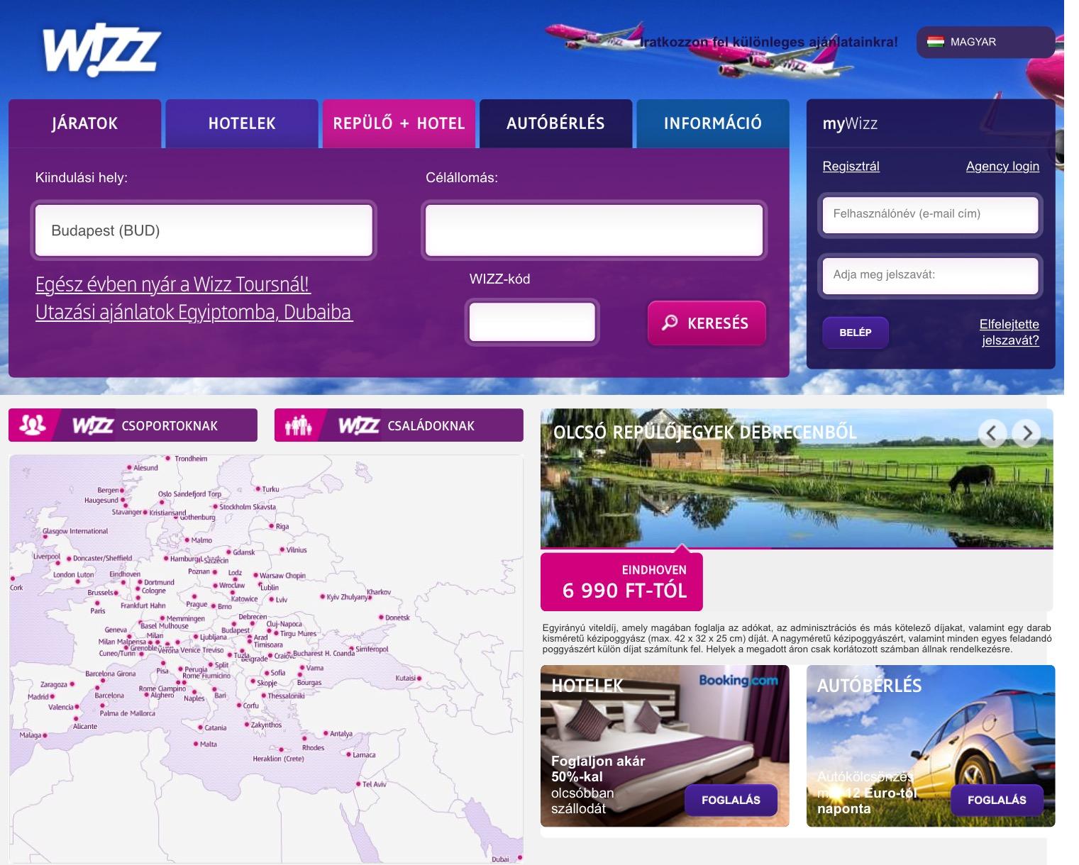 A Wizz Air honlapján interaktív térképpel is megnézhetjük, hogy merre is repülnek a lila-rózsaszín Airbusok. | © AIRportal.hu