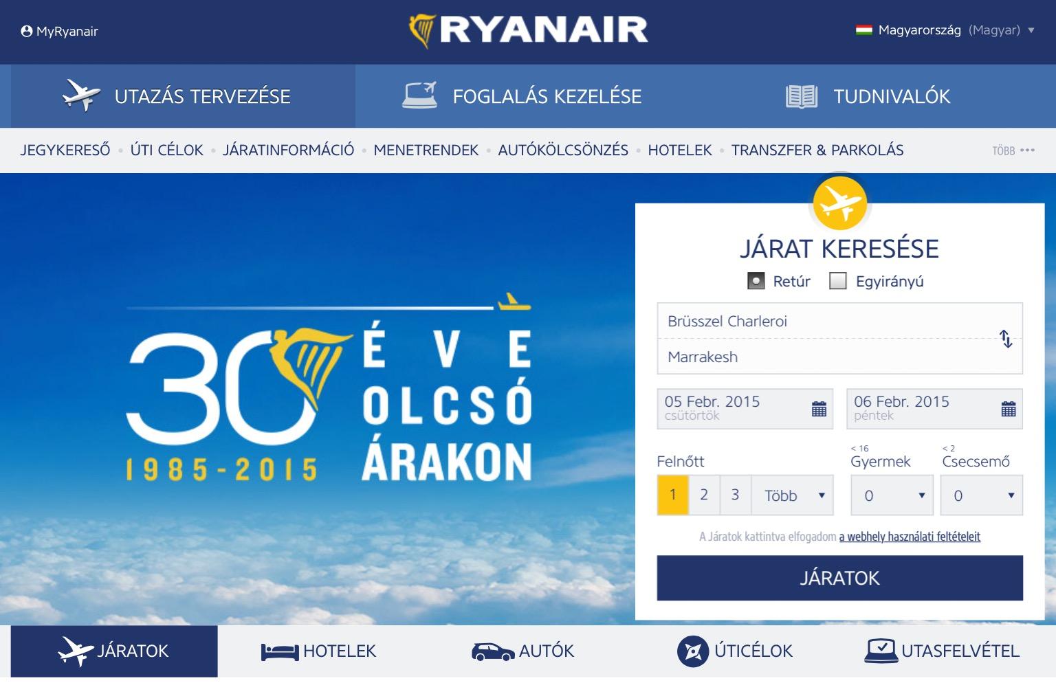 A Ryanair magyar nyelvű honlapja könnyedén kezelhető. | © AIRportal.hu