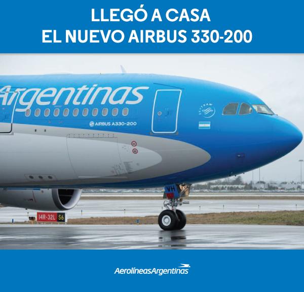 """""""Hazaérkezett az új A330-200-as"""" - szól a légitársaság reklám üzenete. (Forrás: Aerolíenas Argentinas)   © AIRportal.hu"""