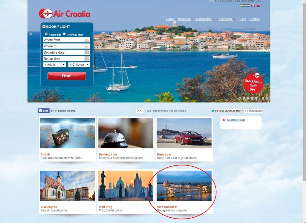 Képernyőfotó az Air Croatia honlapjáról, rajta bekarikázva a Budapestet is hirdető ablak. (Forrás: aircroatia.eu) | © AIRportal.hu