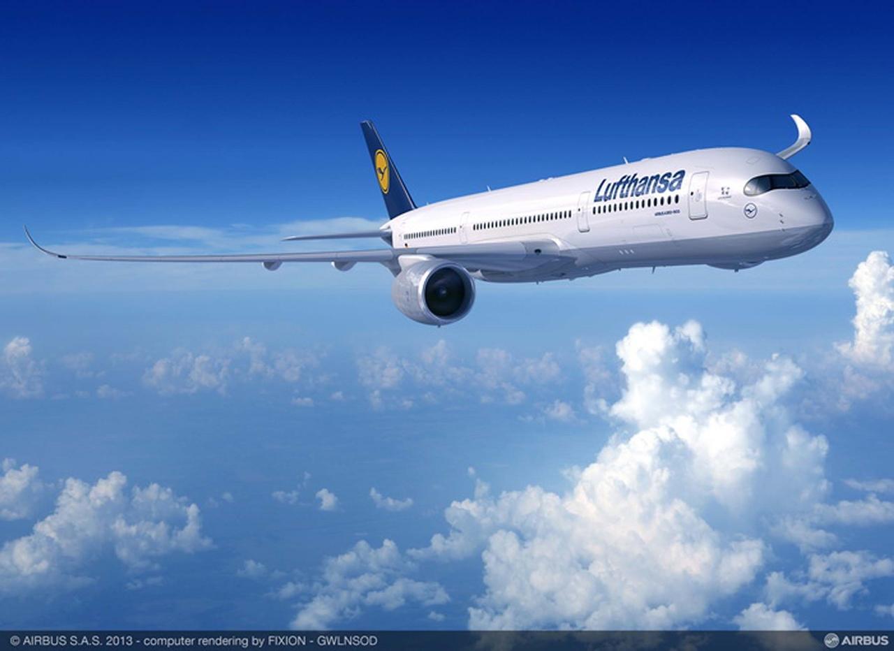 A350-900XWB Lufthansa színekben computer grafikán. (Forrás: Airbus)   © AIRportal.hu
