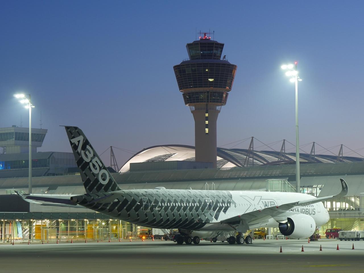 Az A350-900XWB első müncheni látogatása, 2015. február 28-i fotón. (Fotó: Airbus)   © AIRportal.hu