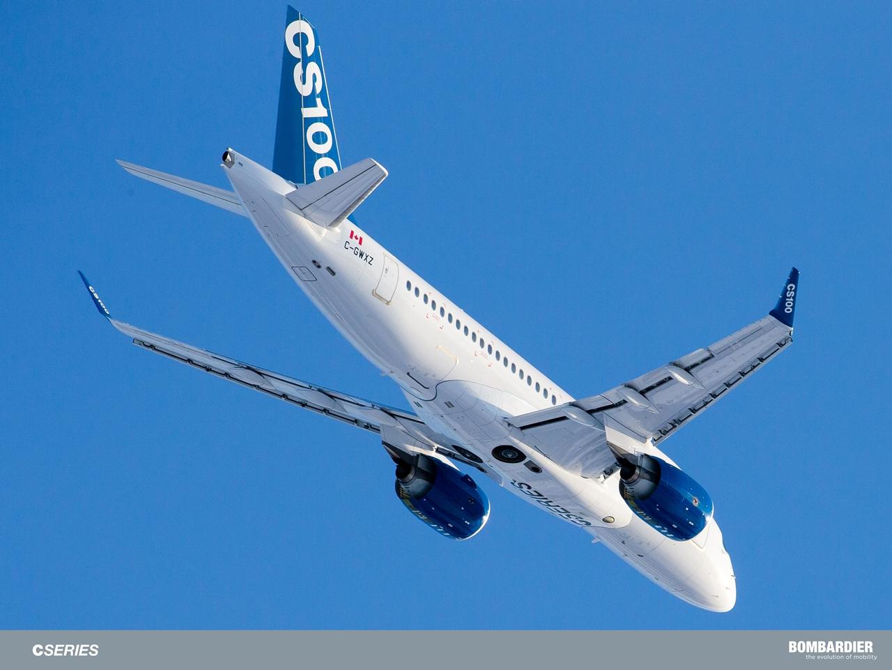 Repülés közben az ötödik CSeries 100 prototípus. (Fotó: Bombardier) | © AIRportal.hu