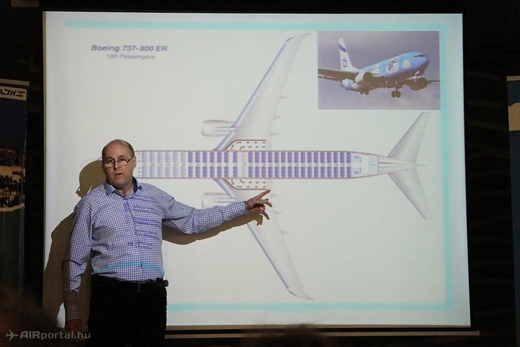 Váradi János, az El Al magyarországi igazgatója prezentációja közben. (Fotó: Csemniczky Kristóf - AIRportal.hu) | © AIRportal.hu