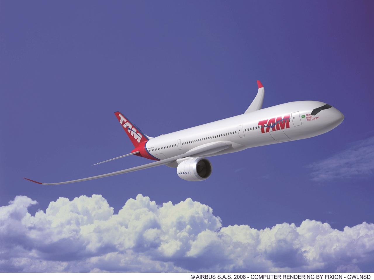 TAM A350XWB egy korai számítógépes látványterven. (Forrás: Airbus)   © AIRportal.hu