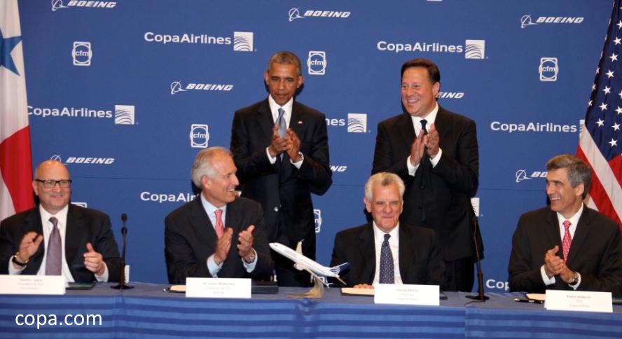 Az aláíró ceremónia Juan Carlos Varela és Barack Obama jelenlétében. (Fotó: Copa Airlines) | © AIRportal.hu