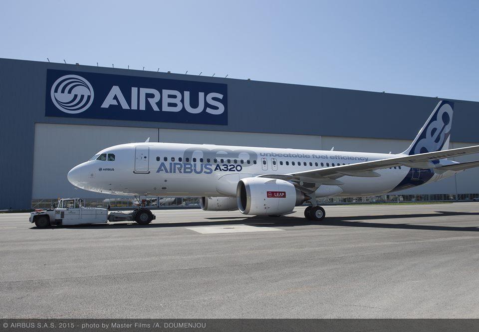 Airbus facebook oldalán közzétett fényképe az első CFM hajtóműves A320neo-ról. (Forrás: Airbus / facebook)   © AIRportal.hu
