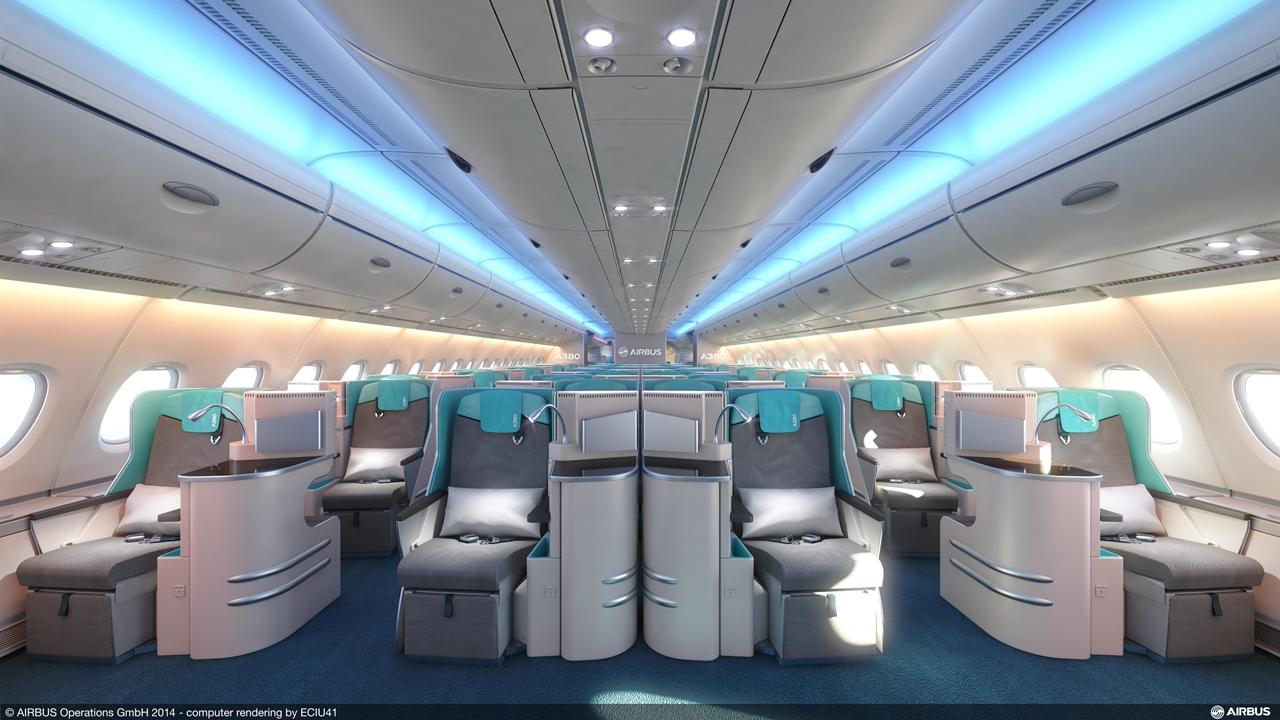 Business osztály 1-2-1 elrendezésben A380-800-asra. (Fotó: Airbus) | © AIRportal.hu