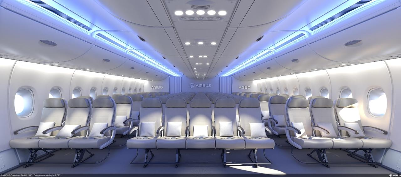 Az új, egy sorba 11 ülést elhelyező Budget Economy koncepció szerinti, 3-5-3 üléskiosztás az A380-800-asra. (Fotó: Airbus) | © AIRportal.hu