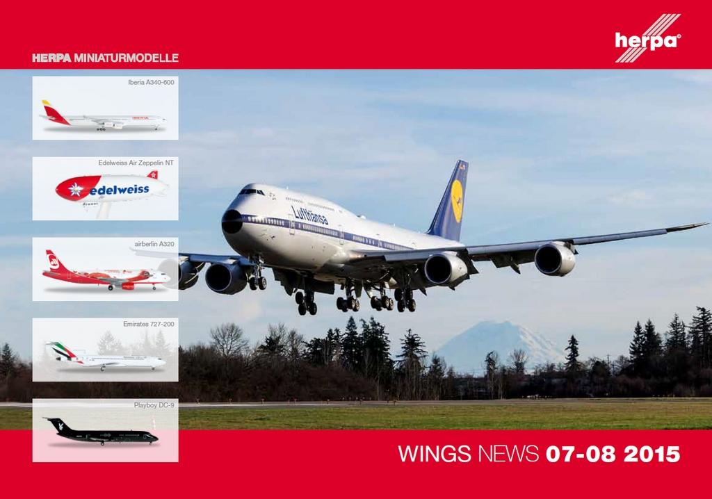 A Herpa Wings legújabb 07-08 2015-ös katalógusa, címlapján a Lufthansa retro festésű Boeing 747-8-asával. (Forrás: Herpa)   © AIRportal.hu