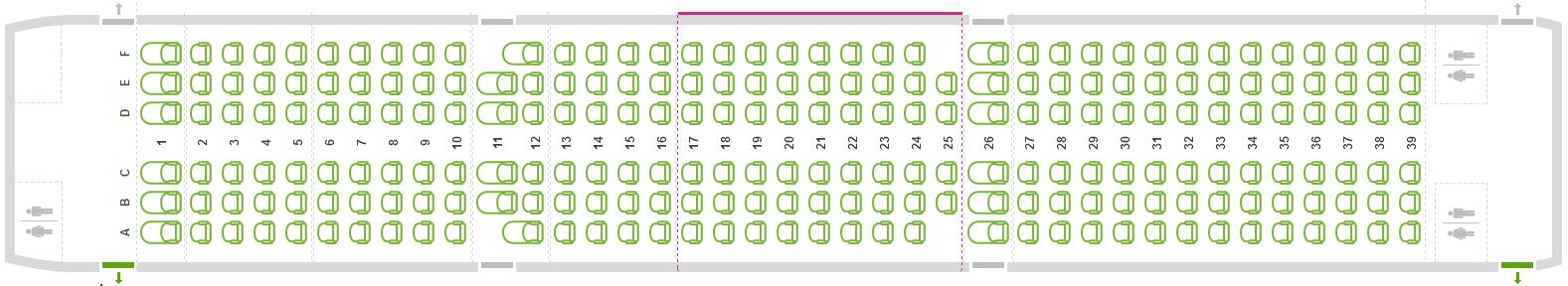 A légitársaság foglalási rendszerében már meg is jelent az A321-es seat map-je, melyen az utasok kiválaszthatják helyüket a repülőgép 230 ülőhelye egyikén. (Kép forrása: Wizz Air foglalási rendszer) | © AIRportal.hu