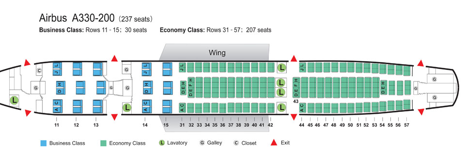 Az Air China összesen 237 üléses A330-200-asának kabintérképe. (Forrás: Air China)   © AIRportal.hu