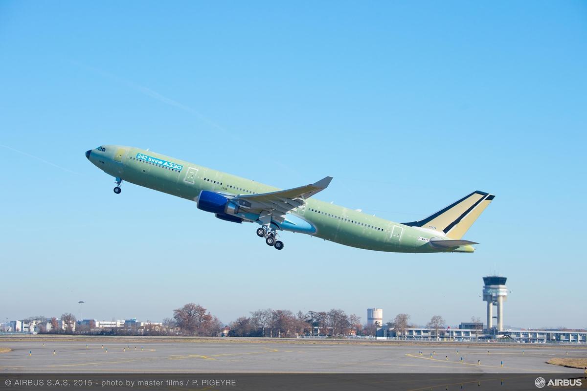 A megnövelt felszállósúlyú, 242 tonnás A330-300-as első felszállása január 12-én. Indító légitársasága a Delta Air Lines lesz idén. (Fotó: Airbus)   © AIRportal.hu