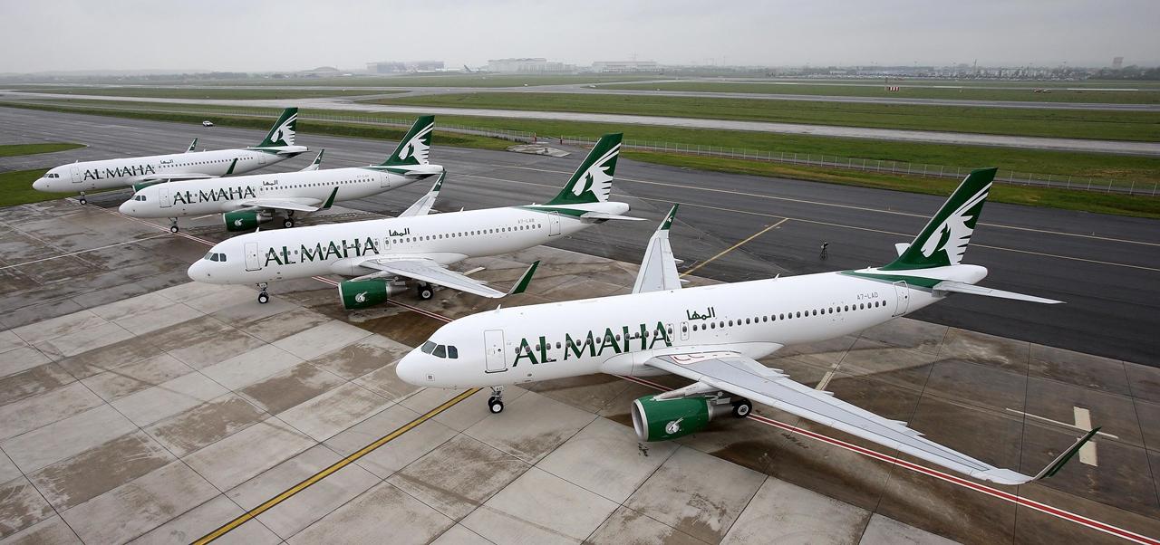 A toulouse-i átadóközpontban sorakozó első négy Al Maha Airbus A320-as. (Fotó: Qatar Airways) | © AIRportal.hu