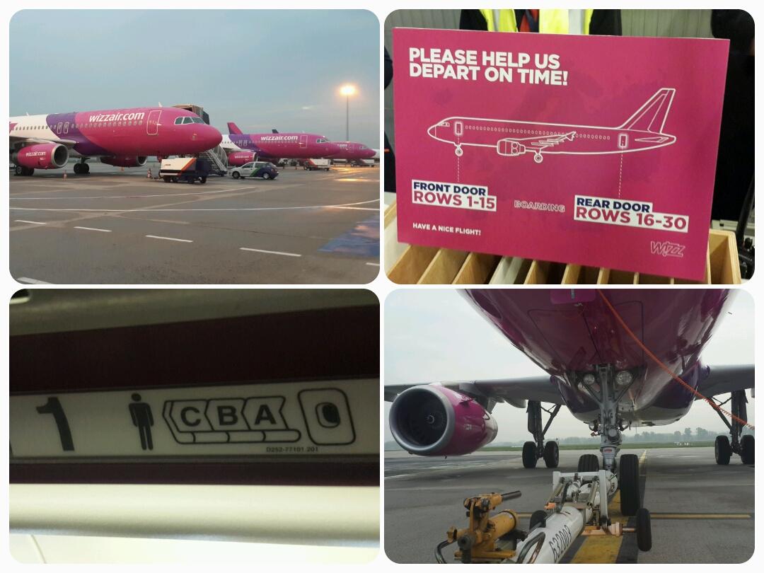 Az első, Budapestről induló ülőhelyfoglalással üzemeltetett Wizz Air járat Barcelonába indult ma hajnalban. A Wizz Air a képen látható tájékoztató táblával segíti az utasokat, hogy az ülőhelyükhöz közelebb eső ajtót vegyék igénybe a beszállásnál. (Fotó: Schneider Péter)   © AIRportal.hu