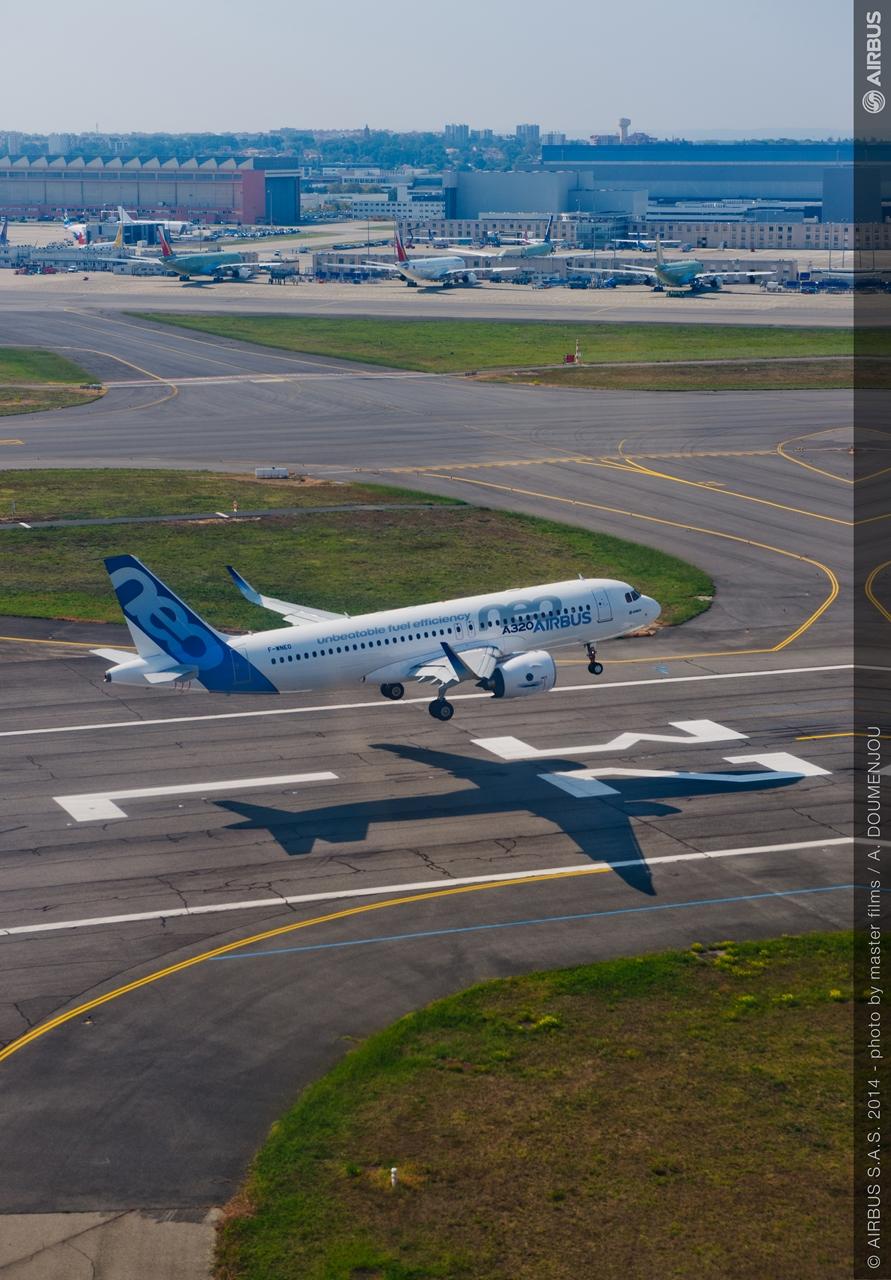 Az április 30-i incidensben érintett első A320neo prototípus a szűzrepülése napján, 2014. szeptember 25-én. (Fotó: Airbus) | © AIRportal.hu