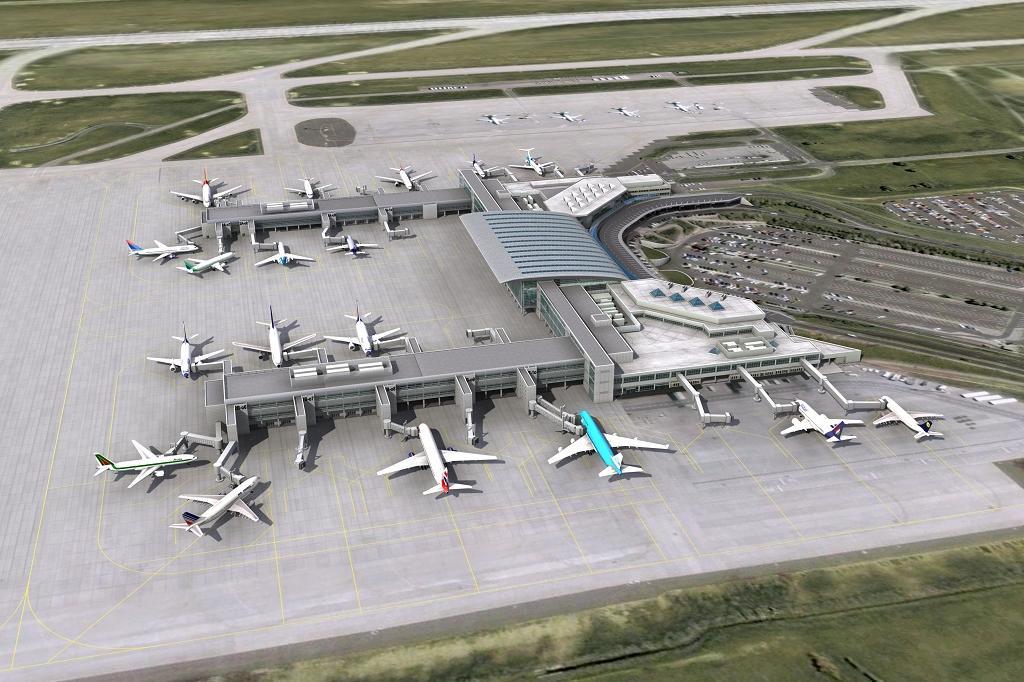 A Budapest Airport korábbi, a Malév csődöt megelőző terveiben is szerepeltek a pierek, mindkét - schengeni és non-schengeni - terminálon is. (Grafika: Budapest Airport) | © AIRportal.hu
