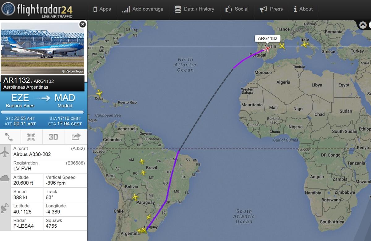 Már a mai madridi járaton is A330-200-as repült. Az A340-300-ast váltó rendszeres üzem július 1-jén kezdődik. (Fotó: Flightradar24.com)   © AIRportal.hu
