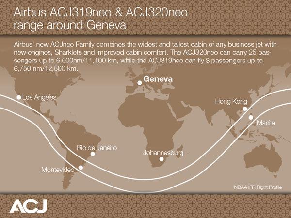 Az Airbus ACJneo hatótáv szemléltető térképe Genfből kiindulóan. Azért onnan, mert a héten ott zajlik az EBACE szakkiállítás, amelyre az Airbus az ACJneo programindítóját időzítette. (Forrás Airbus)   © AIRportal.hu