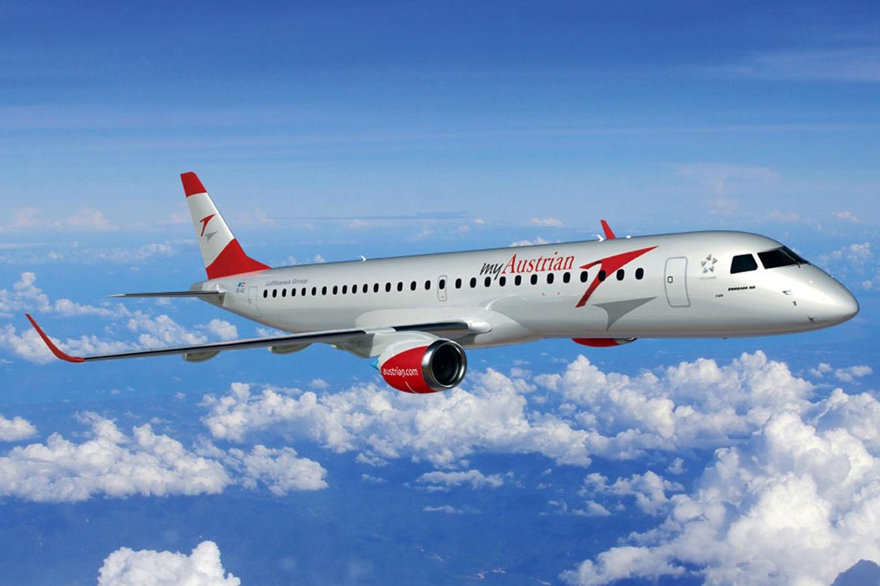 Embraer E-195 az Austrian Airlines új festésmintájának megfelelően látványterven. (Forrás: Austrian Airlines) | © AIRportal.hu