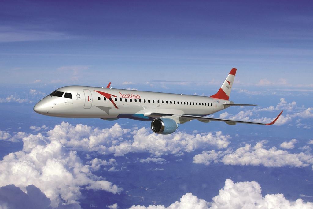 A márciusi bejelentésre készített E-195 látványterv. Ha időközben nem vált festésmintát az Austrian, így nézett volna ki a típus, de immáron a fenti grafika tekinthető hivatalosnak. (Forrás: Austrian Airlines) | © AIRportal.hu
