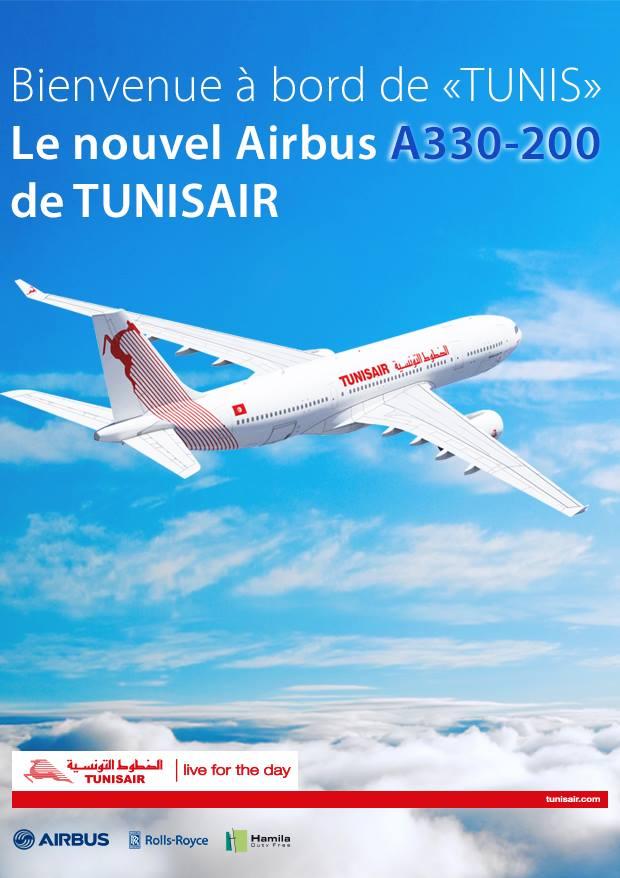 Nagy az öröm a légitársaságnál, külön A330-as plakát is készült. (Forrás: Tunisair) | © AIRportal.hu