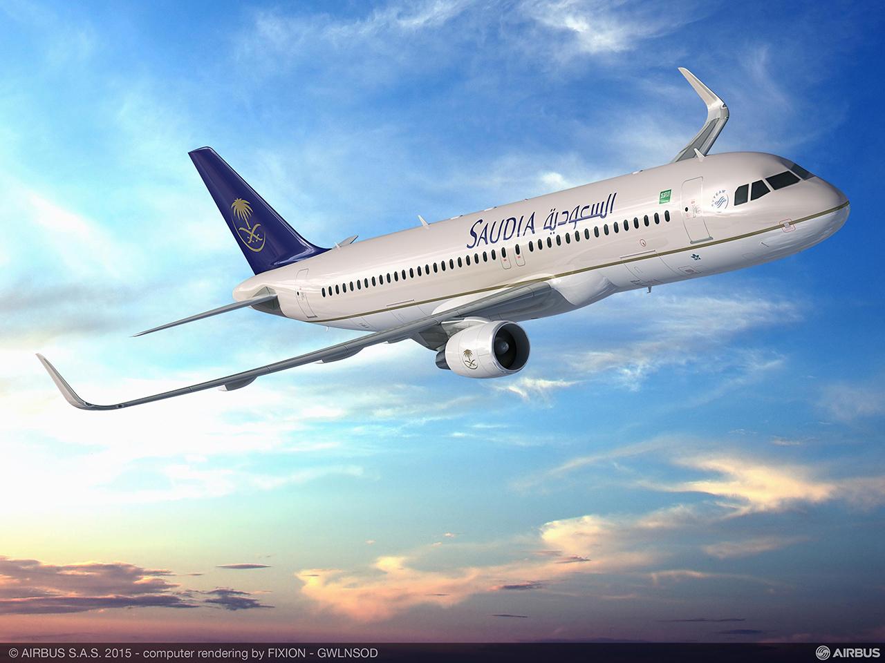 A Saudia a regionális A330-asok mellett, rendelt 30 darab keskenytörzsű, A320ceo (azaz a jelenlegi hajtómű opcióval szerelt) keskenytörzsű repülőgépet is. Grafika: Airbus | © AIRportal.hu