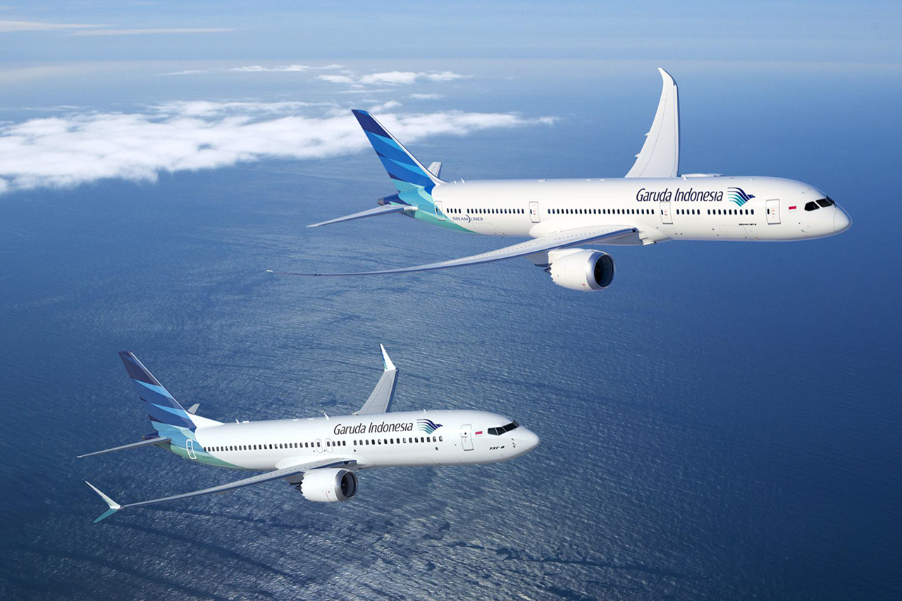 Boeing 737 MAX 8 és Boeing 787-9 Dreamliner a Garuda színeiben. Grafika: Boeing Company | © AIRportal.hu