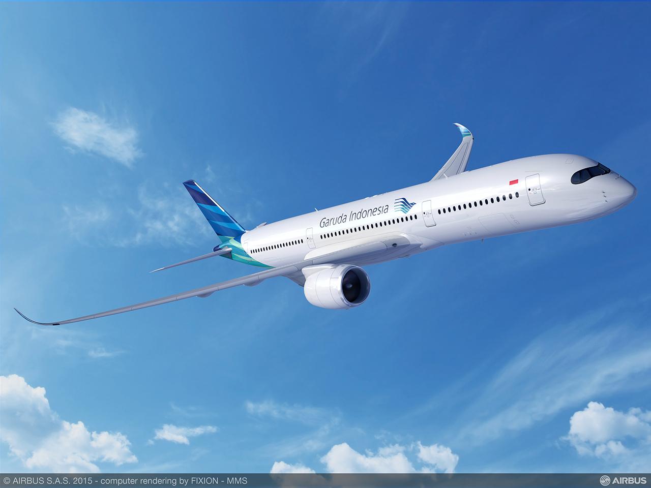 A350 XWB a Garuda színeiben. Grafika: Airbus | © AIRportal.hu