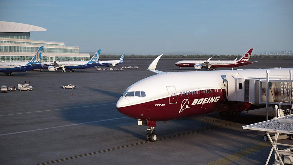 Repülőtéri látkép, utashídon álló Boeing 777-8X-szel az előtérben, felhajtott szárnyvéggel. (Fotó: Boeing Company) | © AIRportal.hu
