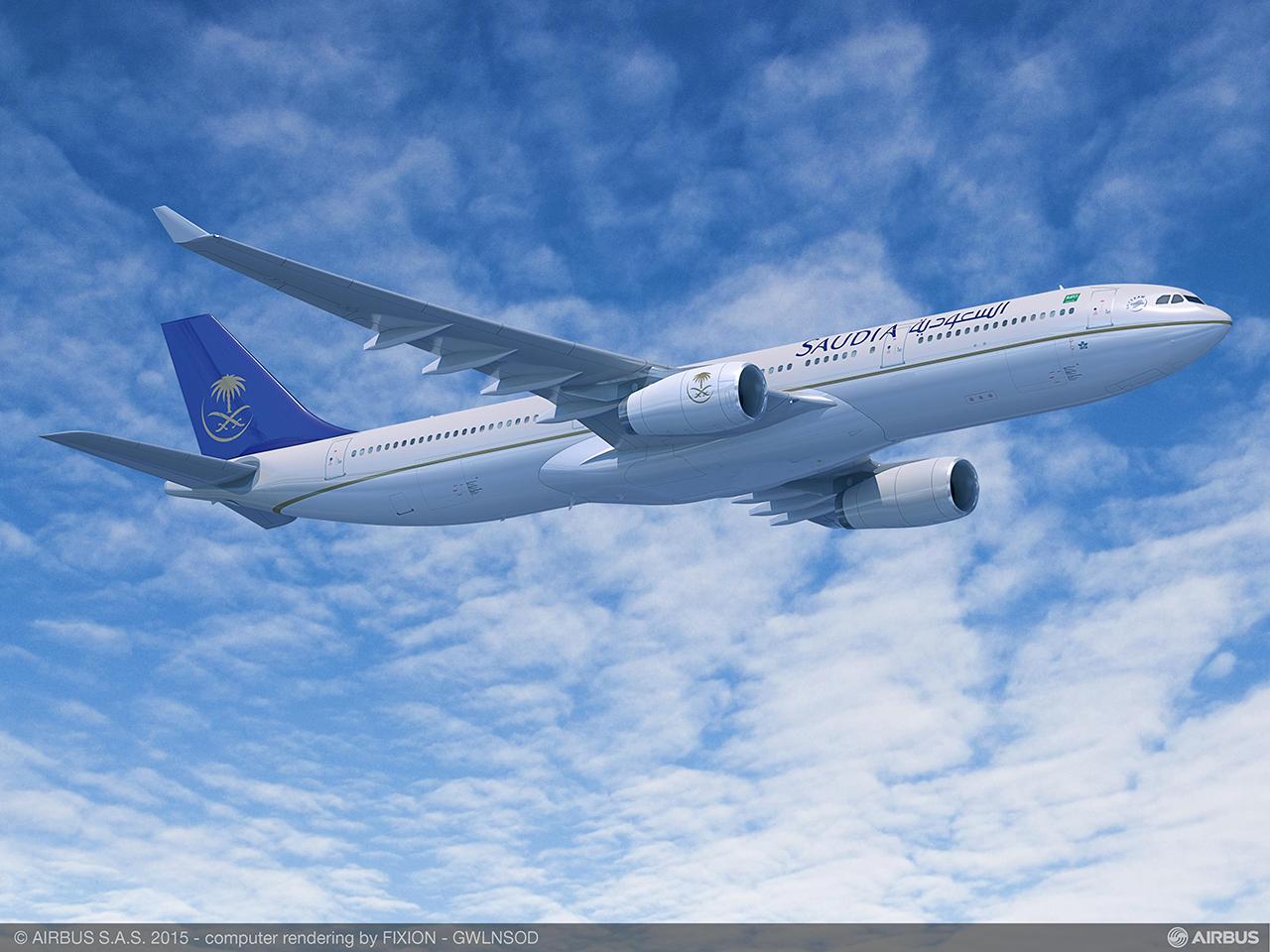 Így fog kinézni a Saudia Airbus A330-300 Regional repülőgépe, kívülről nincs szemmel látható különbség a jelenlegi modellhez képest. Grafika: Airbus | © AIRportal.hu