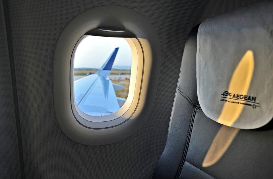Sharklet szárnyvég a kabinból. (Fotó: Aegean Airlines) | © AIRportal.hu