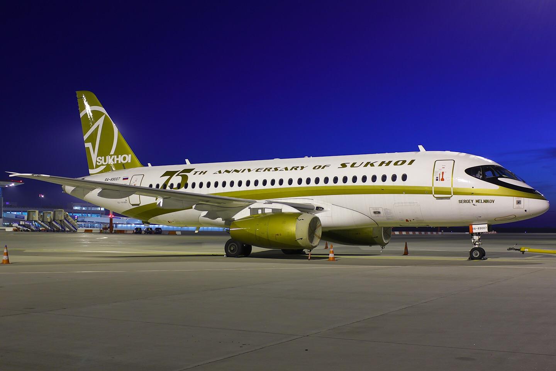 A különleges, 75. évfordulós festésű SSJ-100-as a budapesti Liszt Ferenc repülőtéren is járt már. (Fotó: Rimóczi Roland - AIRportal.hu)   © AIRportal.hu