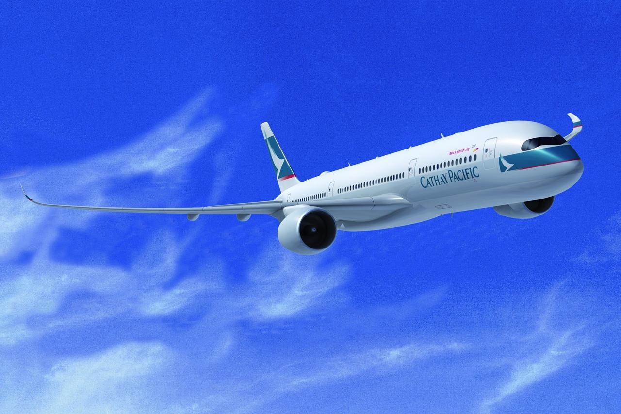 Egy korai A350-900XWB számítógépes látványterv Cathay színekben. (Forrás: Airbus)   © AIRportal.hu