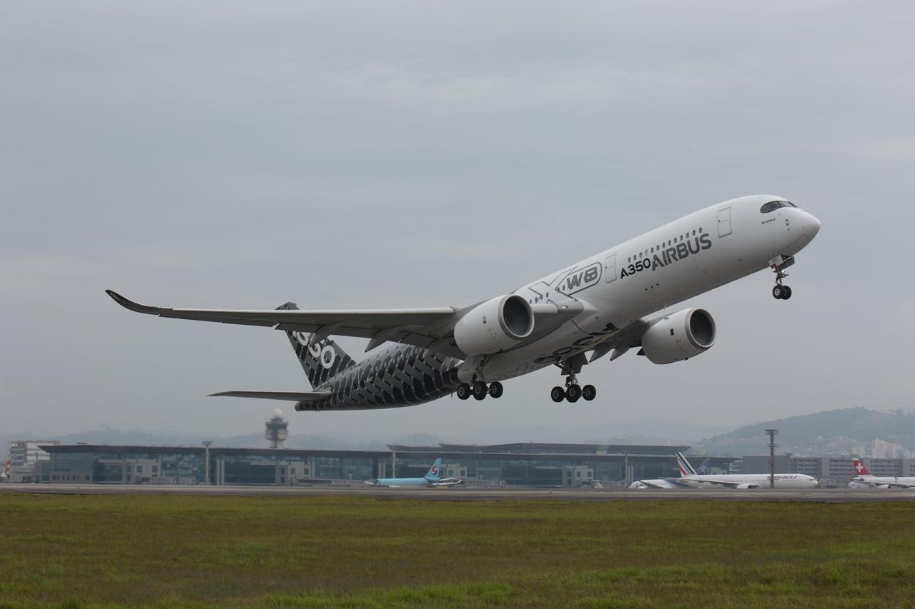 Az MSN2 A350-900XWB prototípus São Paulóban. (Fotó: Airbus)   © AIRportal.hu