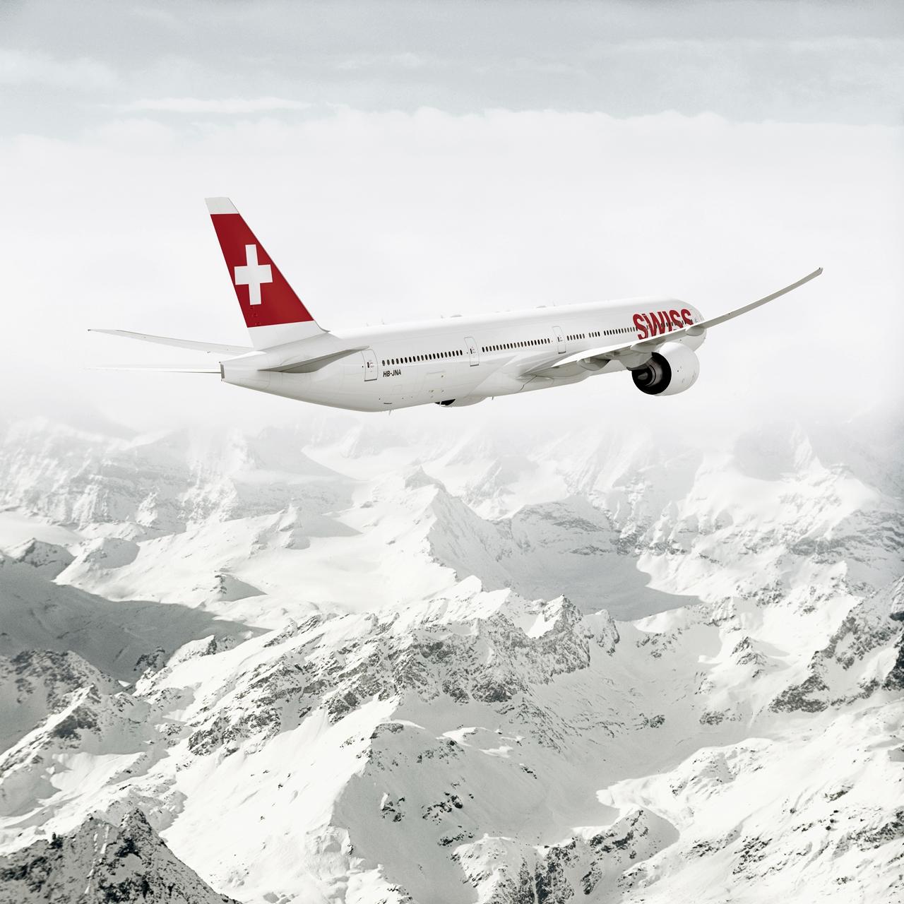 Svájci Boeing 777-300ER az Alpok felett, egyelőre csak látványterven. (Forrás: Swiss)   © AIRportal.hu