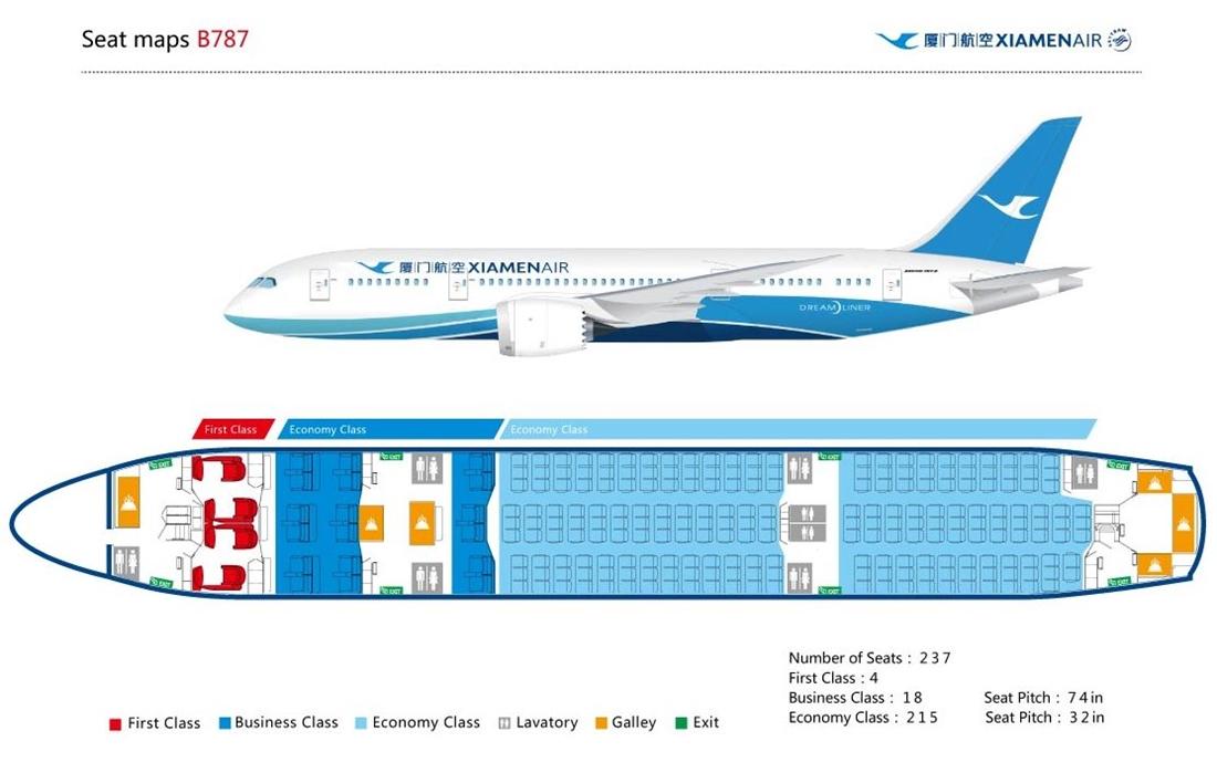 A Xiamen Dreamliner üléstérképe. (Forrás: Xiamen Air) | © AIRportal.hu