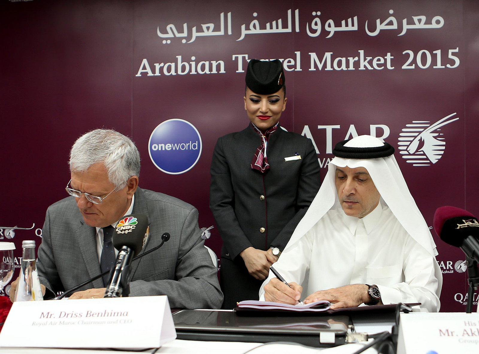 Driss Benhima, a Royal Air Maroc és Akbar Al Baker, a Qatar Airways elnök-vezérigazgatói májusban Dubajban, a code-share aláíró ceremónián. (Fotó: Qatar Airways) | © AIRportal.hu