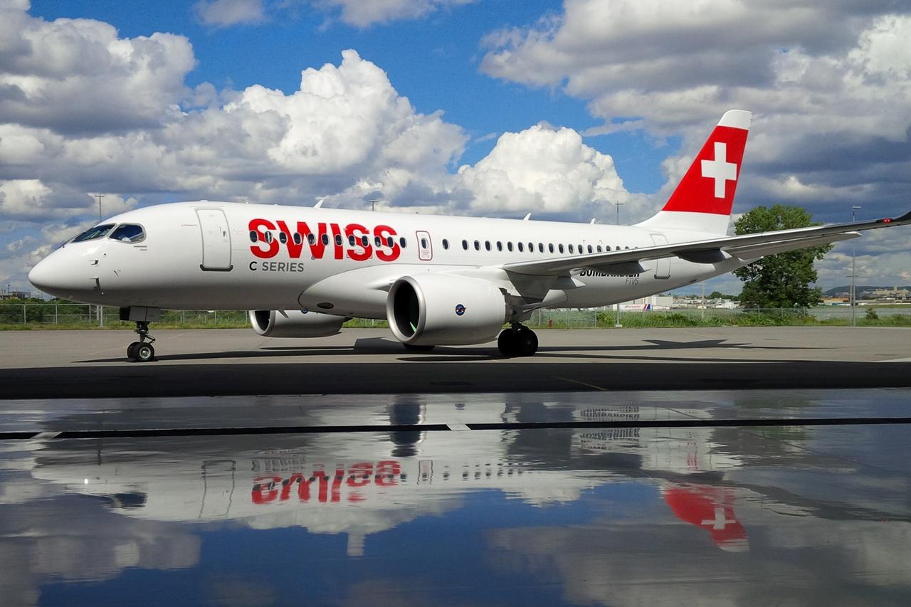 Bombardier CS100 prototípus, az FTV5 az indító légitársaság színeiben. (Fotó: Bombardier Aerospace) | © AIRportal.hu