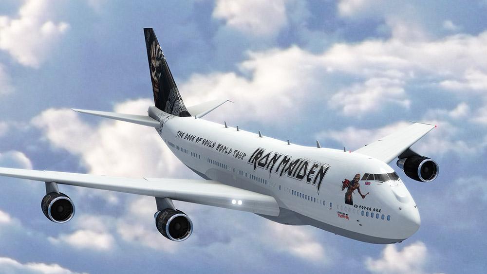 Bár a zenekar hivatalos közleménye egy 747-400-as változat bérléséről szól, a közzétett látványterven egy előző generációs -200-as altípus, pontosabban szerényen az amerikai elnök által is használt speciális kommunikációs rendszerekkel és légi üzemanyag utántöltésre alkalmas altípus, a VC–25A szerepel. (Forrás: Iron Maiden) | © AIRportal.hu