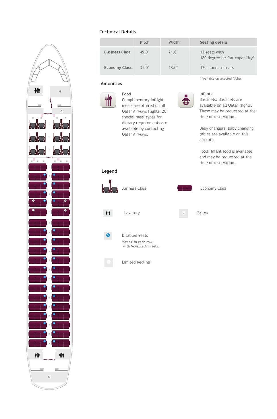 A320P üléstérkép. (Forrás: Qatar Airways) | © AIRportal.hu