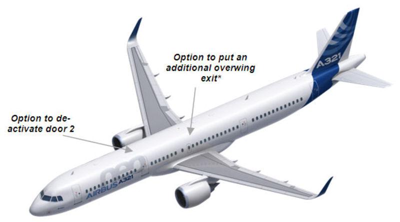 Az ajtó-rendszerben szükséges módosítások a nagyobb utaskapacitás esetére. (Forrás: Airbus) | © AIRportal.hu