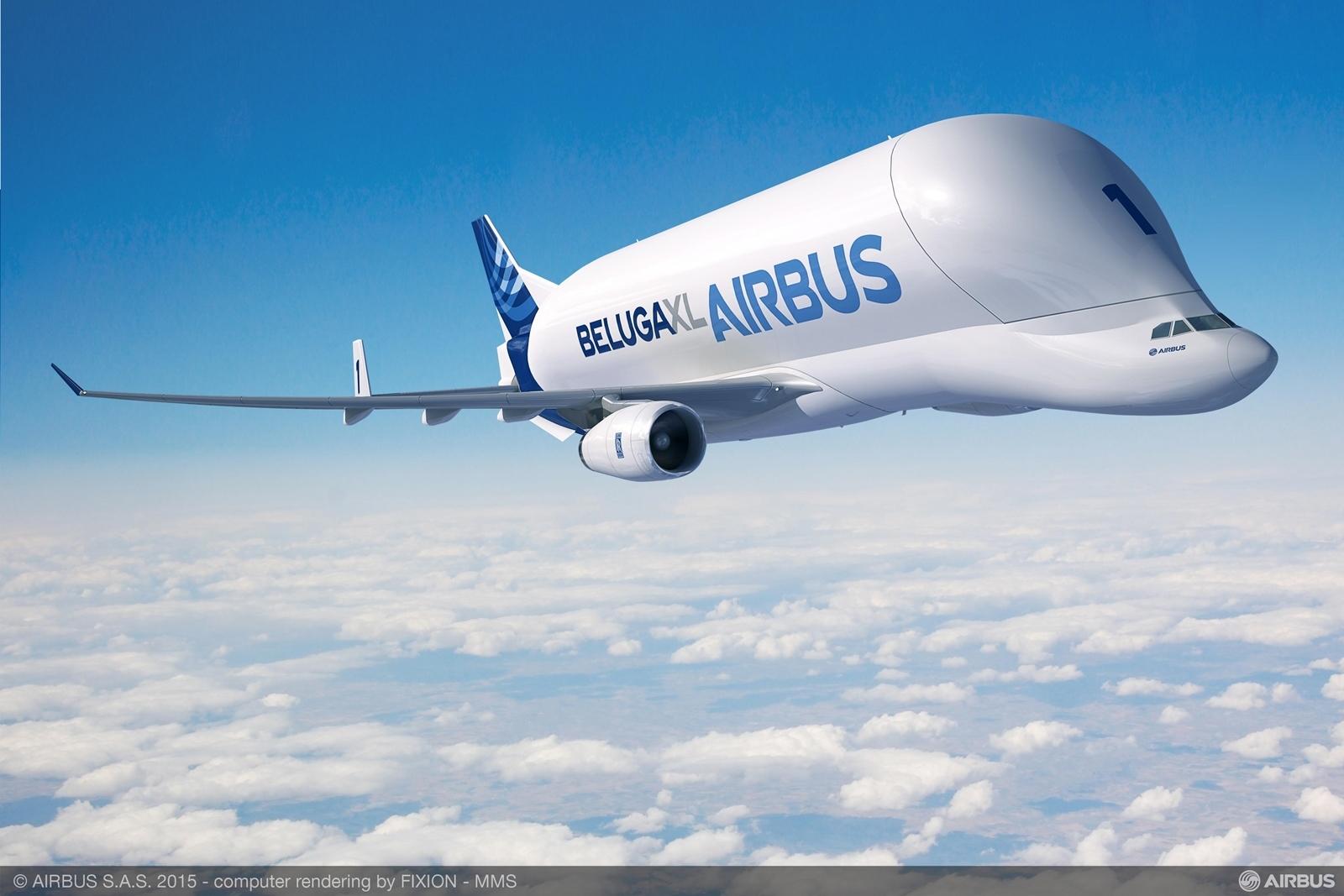 Beluga XL computer grafika, immáron Rolls-Royce logóval a hajtóművön. (Forrás: Airbus) | © AIRportal.hu