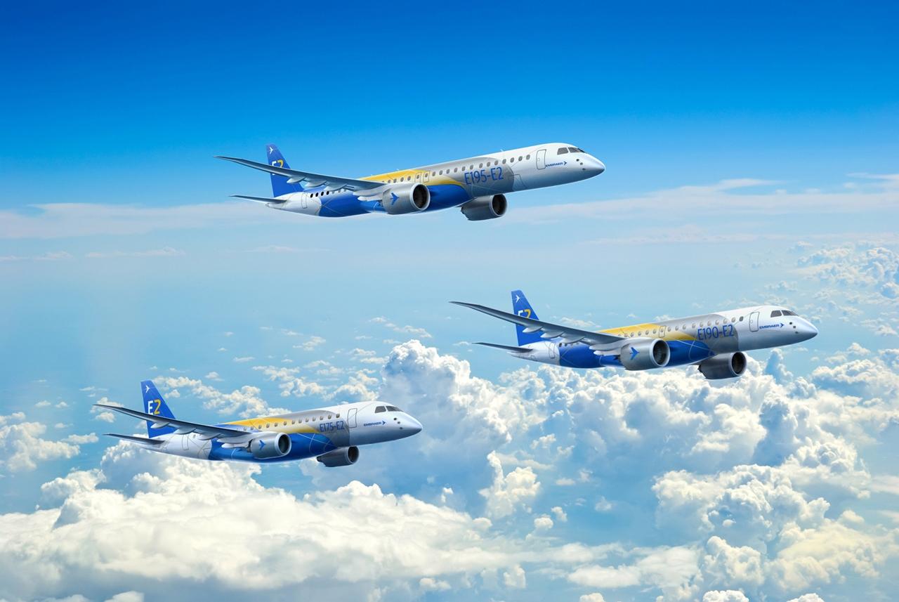 A 2018-tól bevezetésre kerülő új, második generációs E-Jet család látványterve. (Forrás: Embraer)   © AIRportal.hu